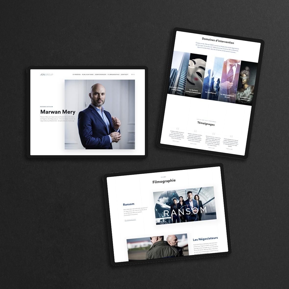 Design (UI et UX) du site de Marwan Mery, fondateur d'ADN Group et négociateur professionnel