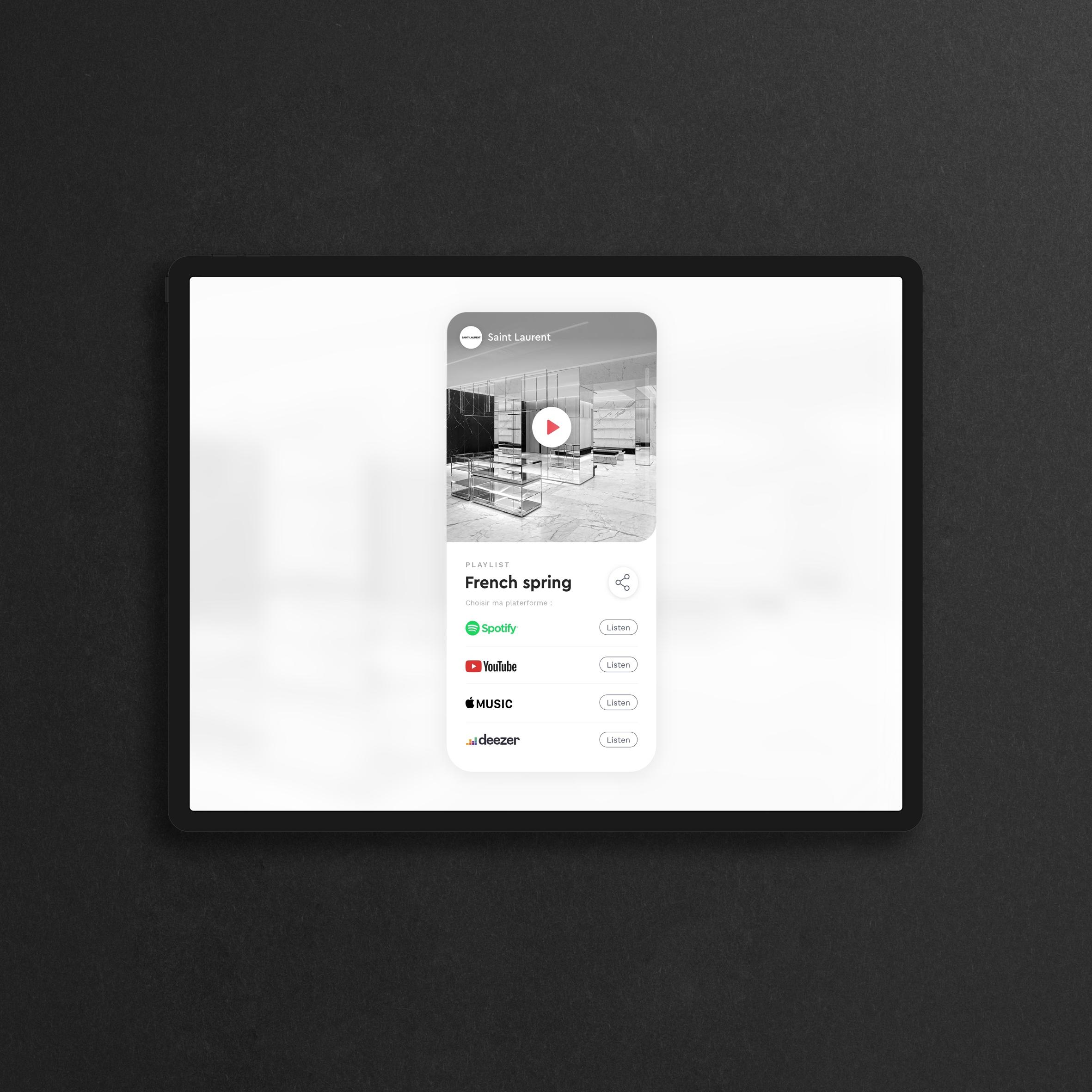 UI et UX du Share Item, par Music Work, un player musical en ligne