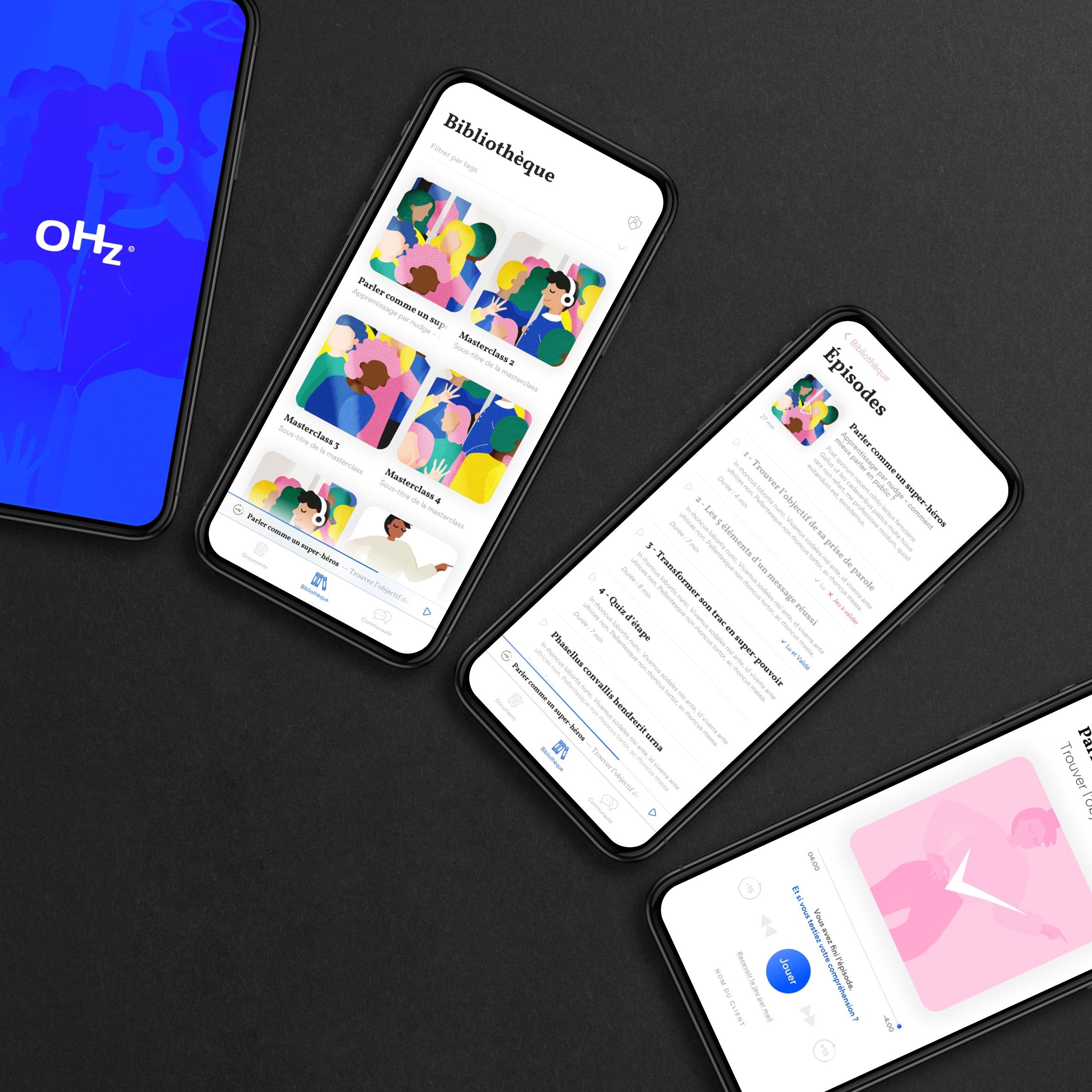 UI et UX de l'app de podcasts OHz